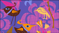 Lovely hand-painted flowers and birds vector -1