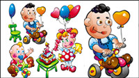 Cartoon baby food toys 01 - vector