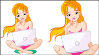 Girl and computer 02 - vector