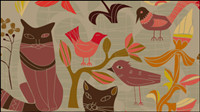 The Cartoon decorative style birds and cats 01 - vector