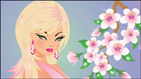 Cartoon Four Seasons Beauty 02-- vector material