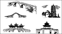 Chinese traditional architectural arch vector material