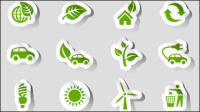 Beautifully green stickers - vector material