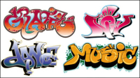 Graffiti fonts beautifully designed 02 - vector material
