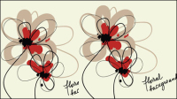 Stylish hand-painted flowers vector material -4