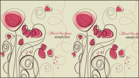 Stylish hand-painted flowers Vector -2