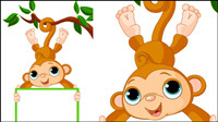 Monkey cartoon image 02 - vector material