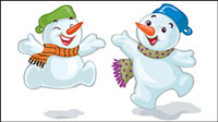 Cartoon Christmas Snowman 02 - vector material