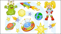 Cartoon Space pattern 01 - vector material