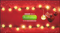 Bright Christmas lights background 01 - vector material