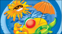Cartoon Summer Pictures 02 - vector material