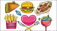 The cartoon food 01 - vector material