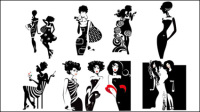 Fashion beauty silhouette - vector material
