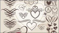 European-style heart-shaped lines - vector material