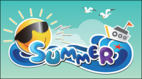 Cartoon Summer Picture 01 - vector material