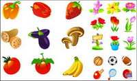 Vegetables, fruits, flowers icon vector material movement