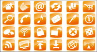 Orange page icons vector