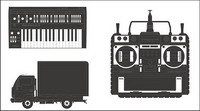 Trucks, video recorders, organ vector material
