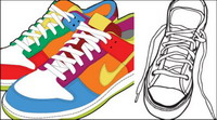 Sports shoes and canvas shoes vector material