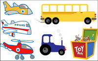 Aircraft, helicopters, cars, tractors, trains and toy vector
