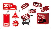Discount sales label icon vector material