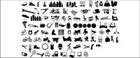 Series of black and white design elements vector material -12 (item Silhouette)