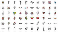 Swords, dragons, butterflies, roses, crosses, Phoenix, eagles, totem vector