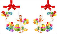 Gifts, bow, balloon