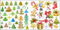 Santa Claus, tag, crutches, bow, socks, snowflake vector