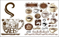 Coffee pot, coffee mugs, coffee beans, coffee shop decorated vector