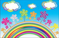 Rainbow Clouds Vector flowers