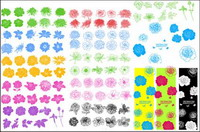 Ink patterns, flowers, vector