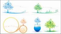 Colorful Tree Icon Soft Color Vector