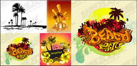 4, coconut trees theme vector material-2