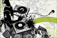 DJ music and patterns Vector