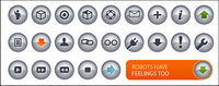 N-chrome crystal texture of small icon (button) vector material