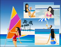 Summer beach vacation packages vector material