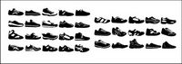 Various black and white sports shoes