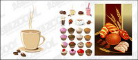 Cake, bread, drinks and other vector material