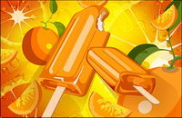 Orange background and popsicles psd layered material