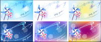 Windmill and dreamy background material vector