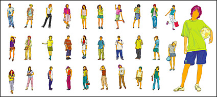 Leisure figures vector material